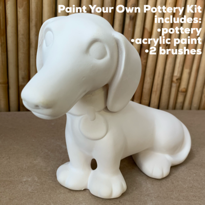 NO FIRE Paint Your Own Pottery Kit -  Ceramic Dachshund Puppy Hound Dog Bank Acrylic Painting Kit