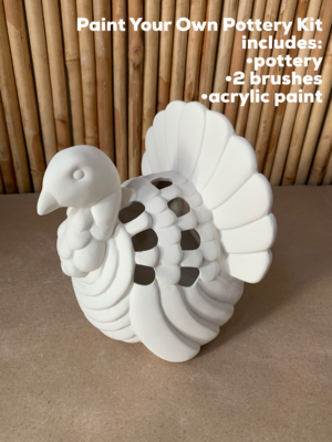 NO FIRE Paint Your Own Pottery Kit -  Ceramic Turkey Luminary Lantern Acrylic Painting Kit