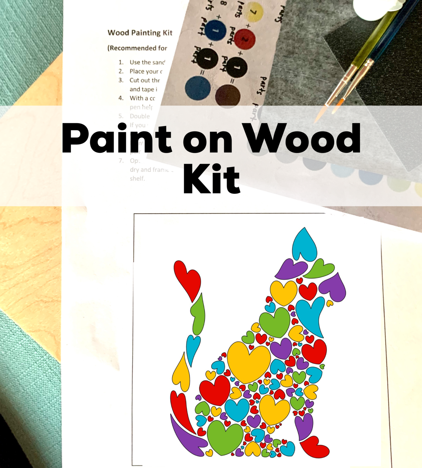 CAT OF HEARTS Paint Your Own Wood Sign