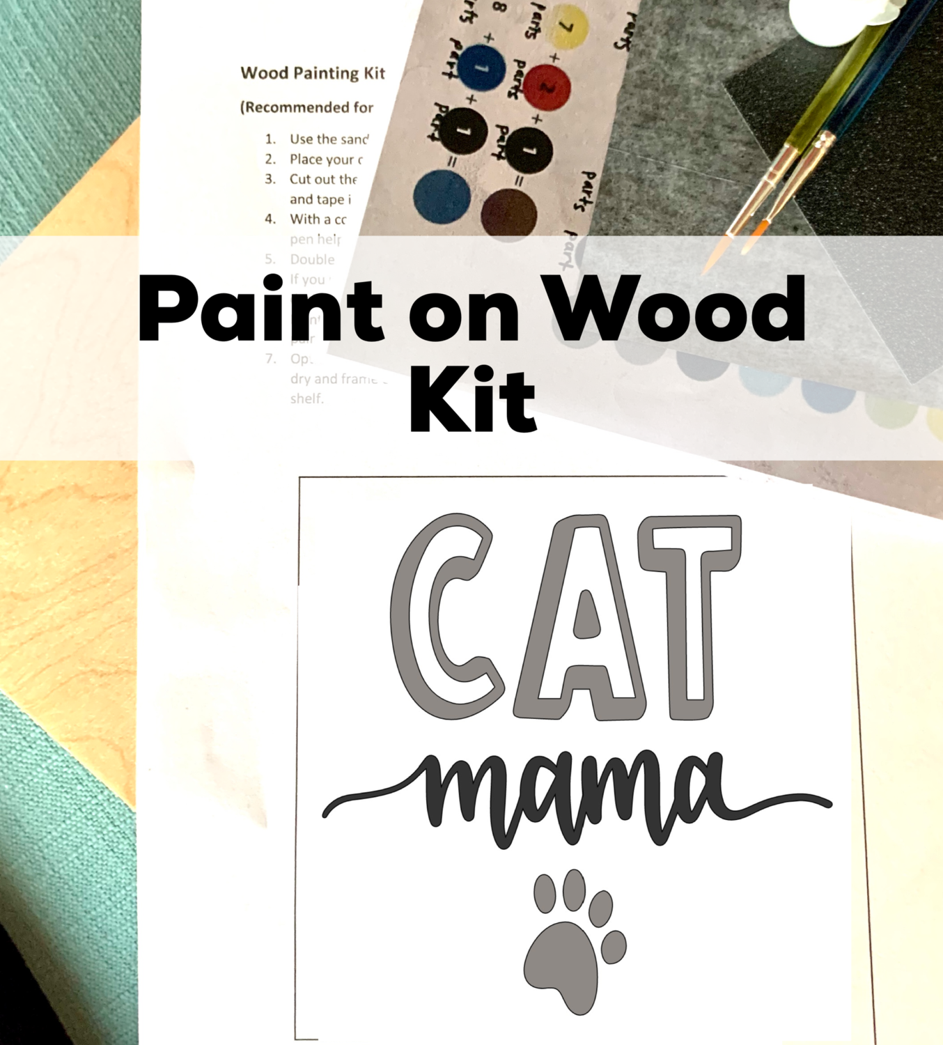 CAT MAMA Paint Your Own Wood Sign