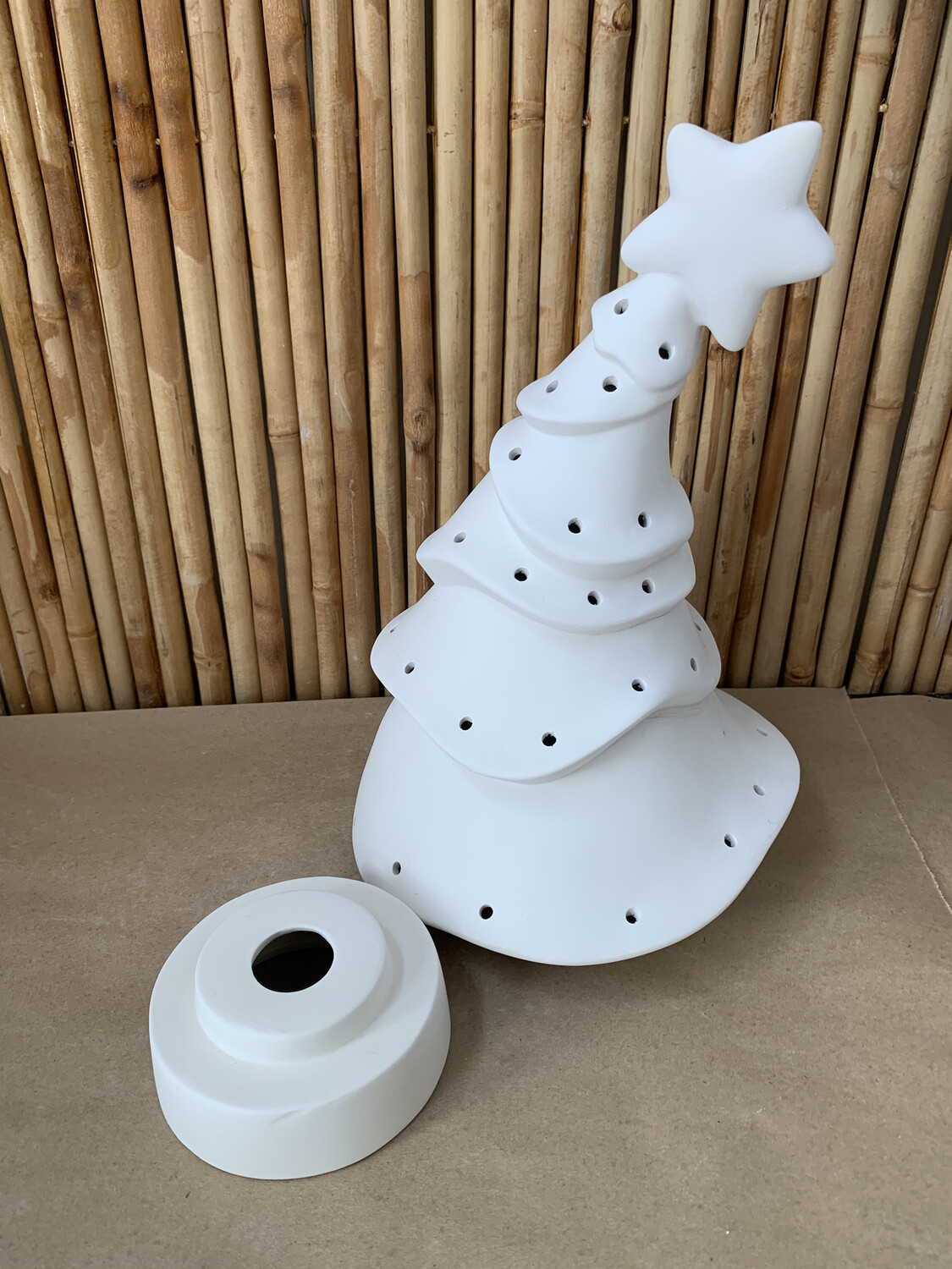 Paint Your Own Pottery - Ceramic   Whimsical Christmas Tree with Lights Painting Kit
