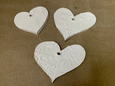 Paint Your Own Pottery - Ceramic Heart Christmas Ornaments  - Set of 3 Hearts