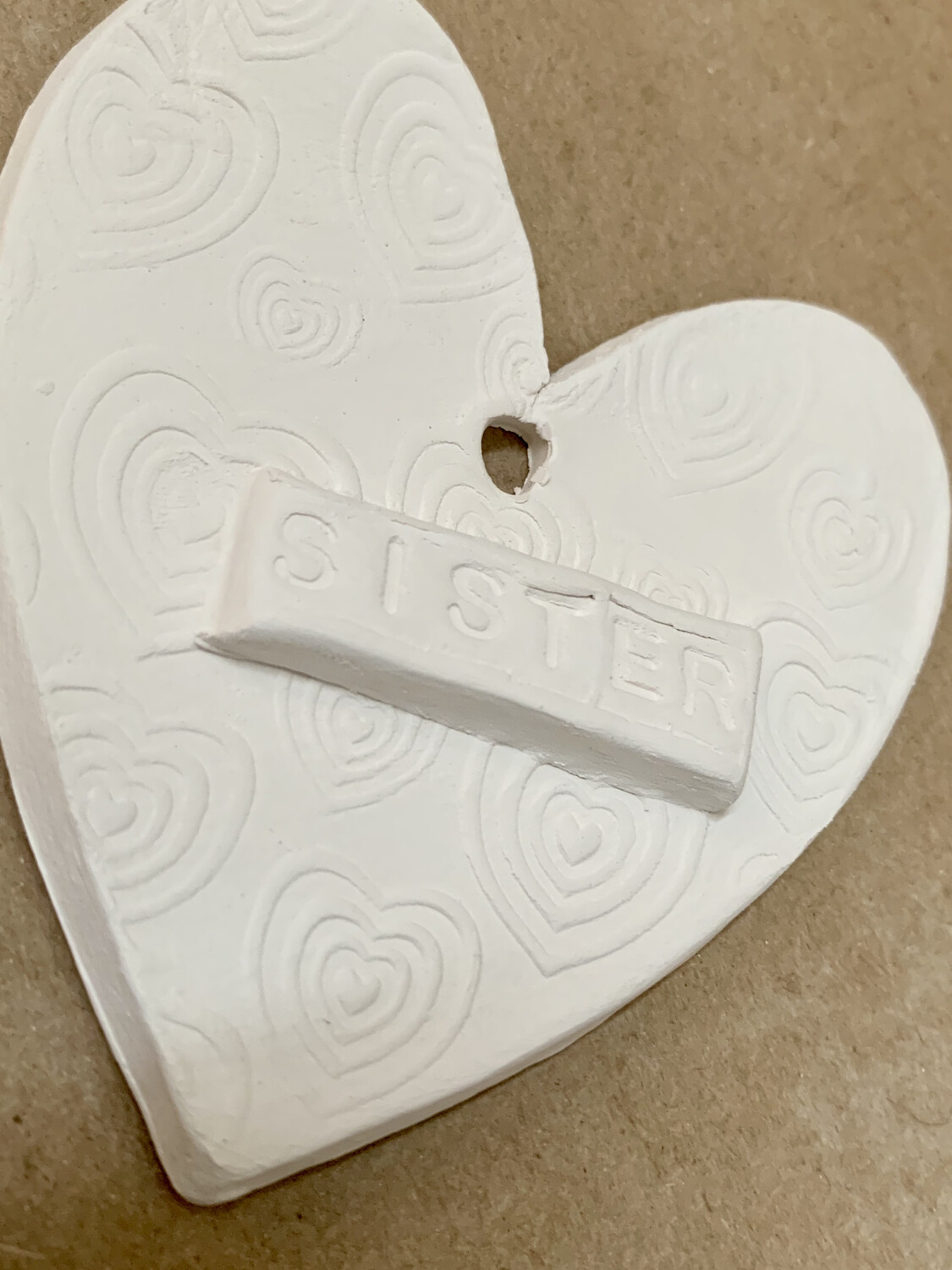 Paint Your Own Pottery - Ceramic  Heart Christmas Ornament Painting Kit For Sister