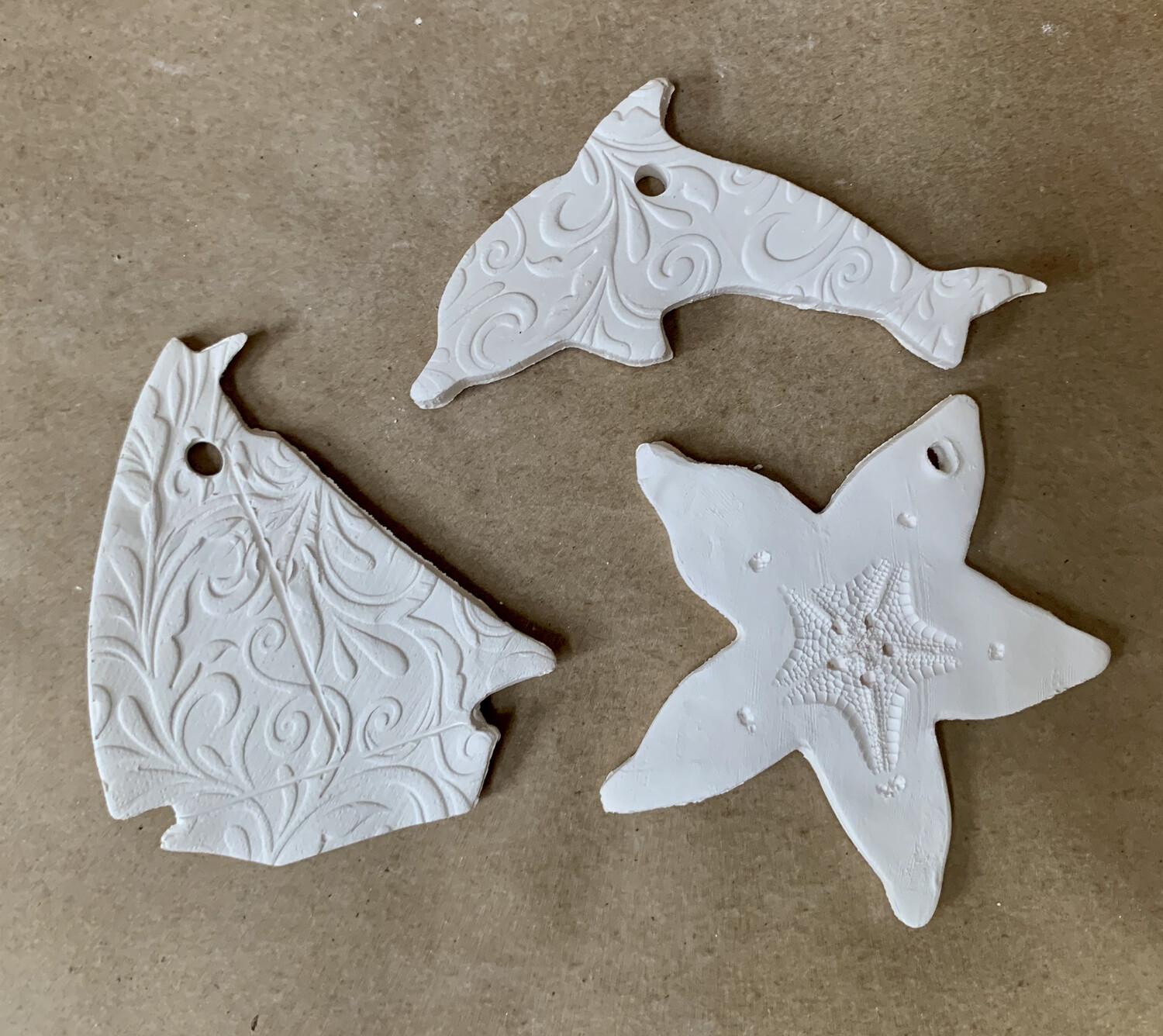 NO FIRE Paint Your Own Pottery Kit -  Ceramic Set of 3 Ocean Christmas Ornaments - Dolphin, Starfish, Sailboat - Acrylic Paint Kit