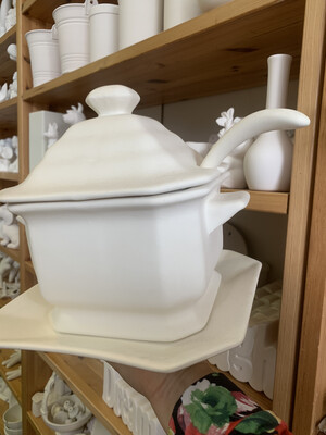 Paint Your Own Pottery - Ceramic   Soup Tureen Server With Ladle And Base Painting Kit