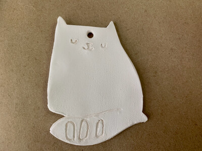 Paint Your Own Pottery - Ceramic   Cat Christmas Ornament Painting Kit