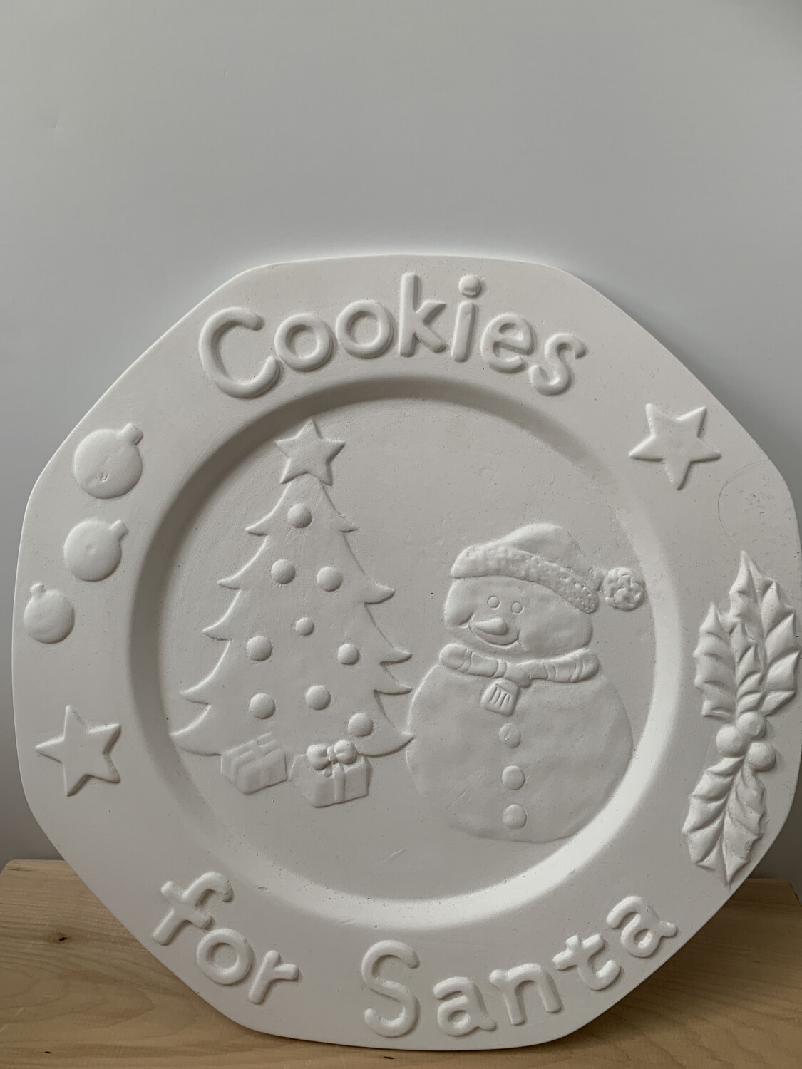 Paint Your Own Pottery - Ceramic   Snowman Cookies For Santa - Christmas Cookie Plate Painting Kit