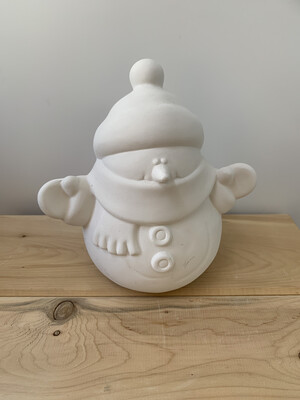 NO FIRE Paint Your Own Pottery Kit -  Ceramic Medium Snowman Figurine Acrylic Painting Kit