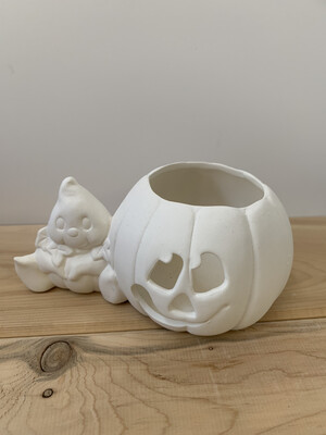 Paint Your Own Pottery - Ceramic   Ghost Pumpkin Votive Holder Painting Kit