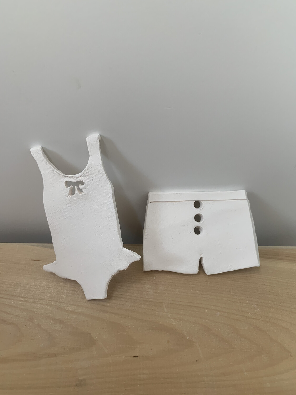 Paint Your Own Pottery - Ceramic Set of 2 Beach Bathing Suit Christmas Ornaments