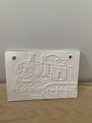 Paint Your Own Pottery - Ceramic   Thomas the Tank Engine Inspired Train Tile Painting Kit