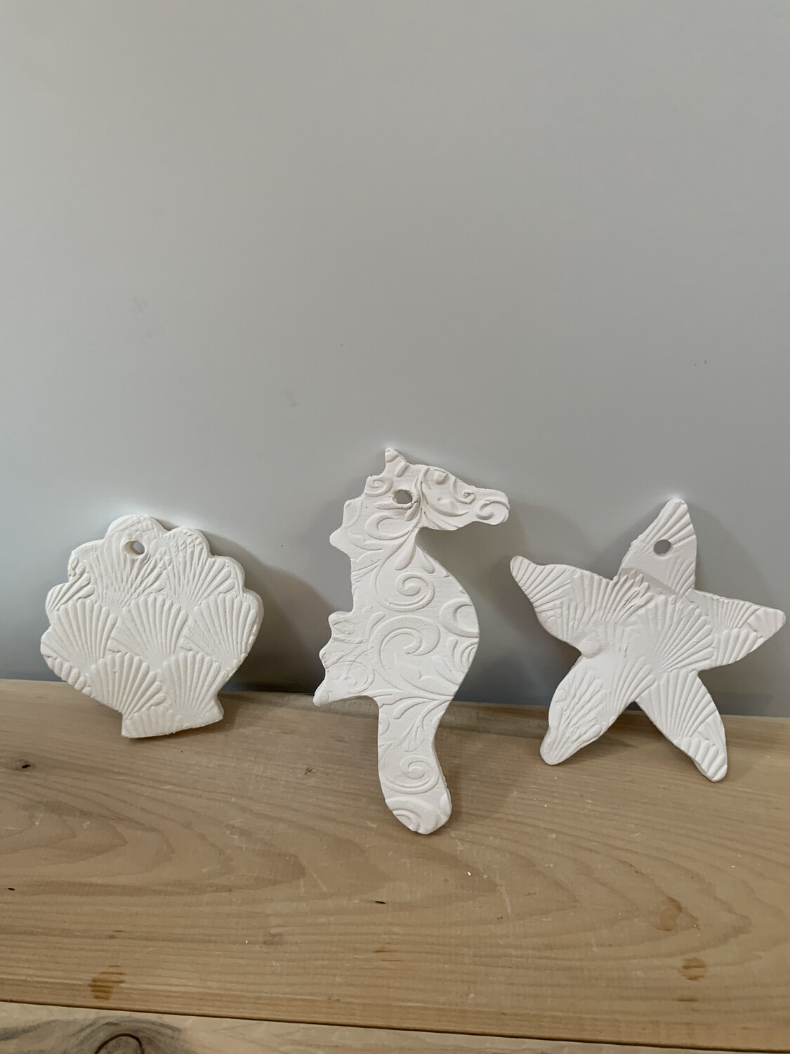 Paint Your Own Pottery - Ceramic   - Set of 3 Stone Harbor NJ Christmas Ornaments - Scallop Shell, Starfish, Seahorse