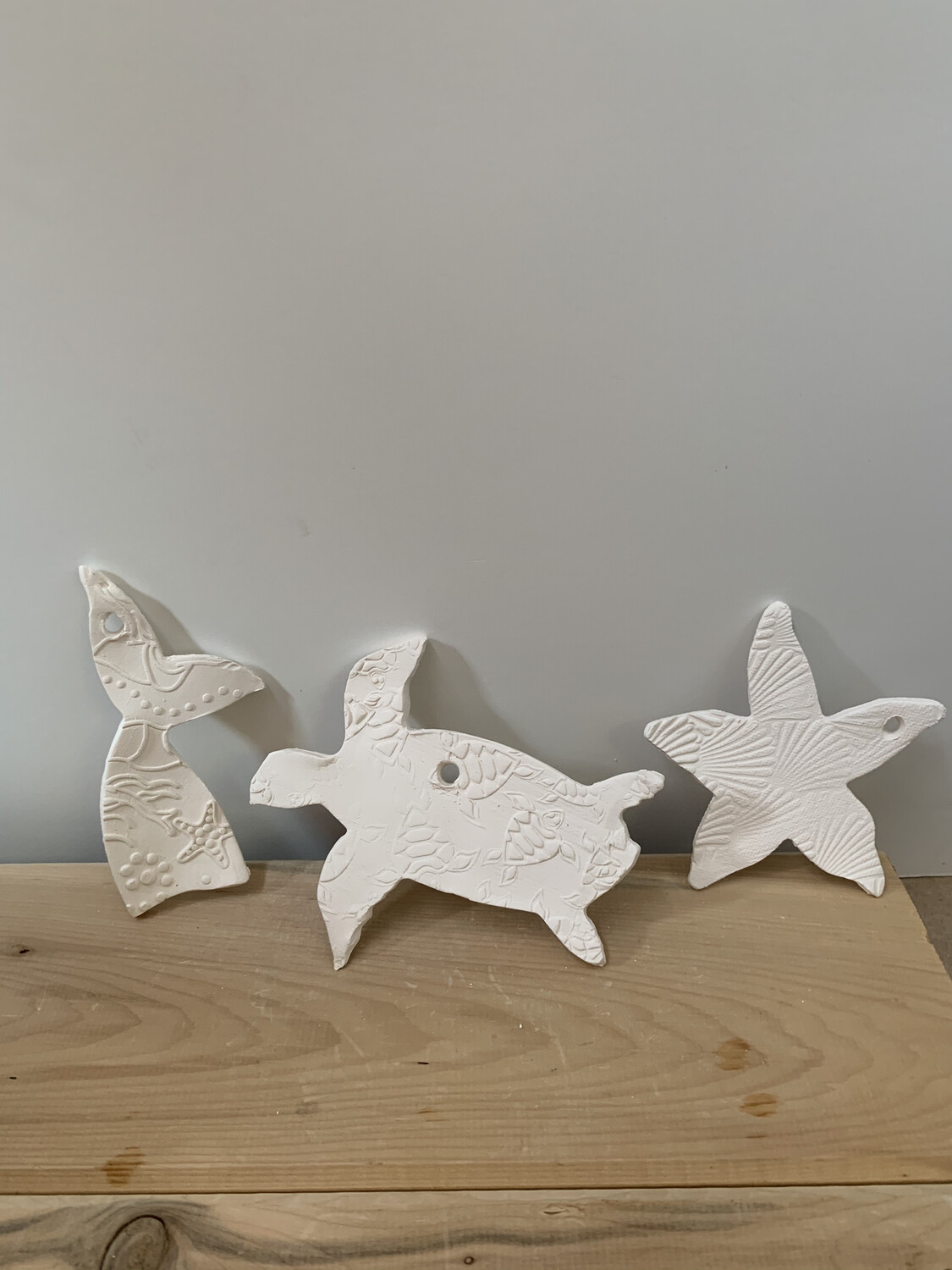 Paint Your Own Pottery - Ceramic   - Set of 3 Ocean Christmas Ornaments - Turtle, Starfish, Mermaid Tail