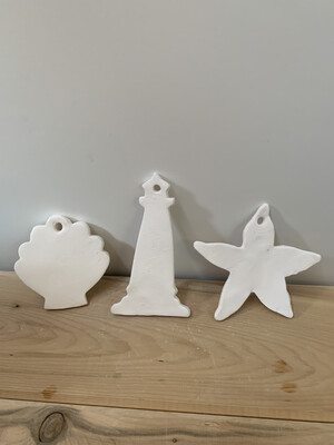 Paint Your Own Pottery - Ceramic   - Set of 3 Ocean Christmas Ornaments - Lighthouse, Starfish, Scallop Shell