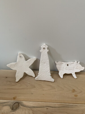 Paint Your Own Pottery - Ceramic   - Set of 3 Congress Hall Cape May NJ Christmas Ornaments - Pig, Lighthouse, Starfish