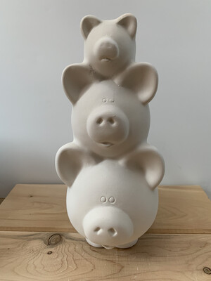 NO FIRE Paint Your Own Pottery Kit -  Ceramic Piggy Stack Bank Acrylic Painting Kit