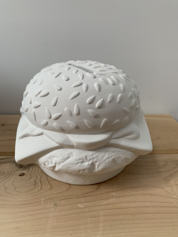 NO FIRE Paint Your Own Pottery Kit -  Ceramic Hamburger Cheeseburger Burger Bank Acrylic Painting Kit