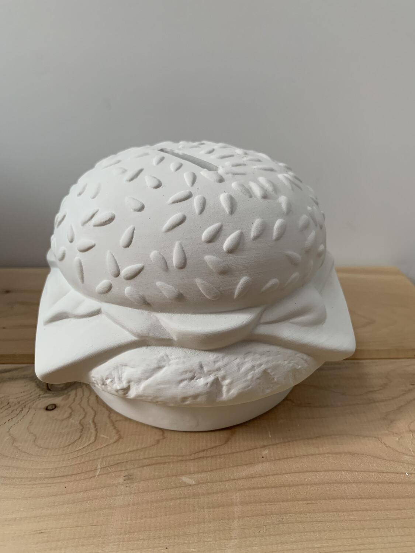 Paint Your Own Pottery - Ceramic   Hamburger Cheeseburger Burger Bank Painting Kit