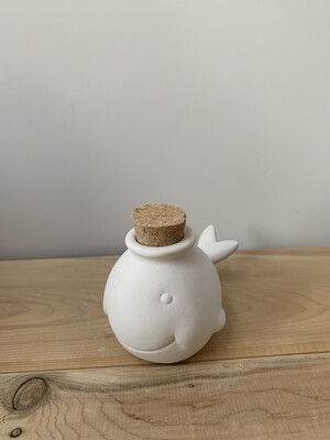 Paint Your Own Pottery - Ceramic   Choose 1 Mini Whale or Puffer Fish Jar Painting Kit