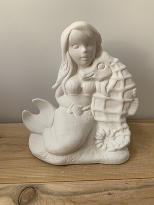 NO FIRE Paint Your Own Pottery Kit -  Ceramic Mermaid + Seahorse Figurine Acrylic Painting Kit