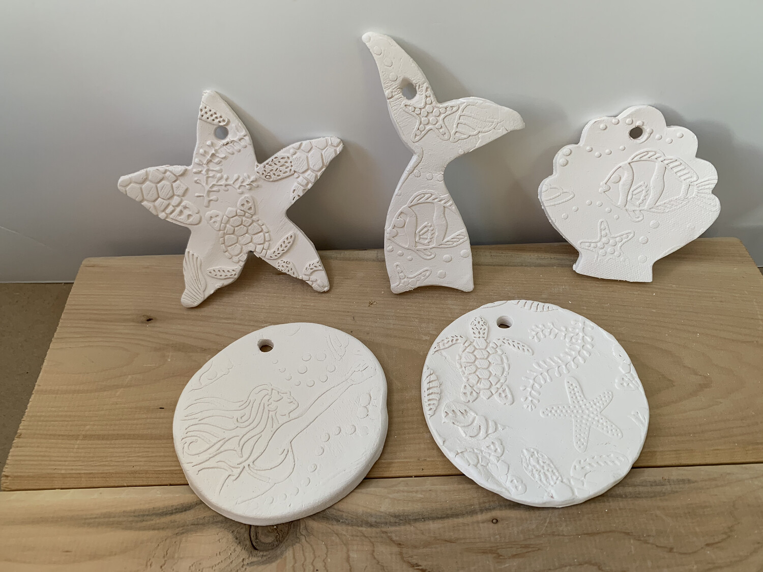 Paint Your Own Pottery - Ceramic   - Set of 5 Ocean Christmas Ornaments - Turtle Circle, Mermaid Circle, Mermaid Tail, Starfish, Scallop Shell