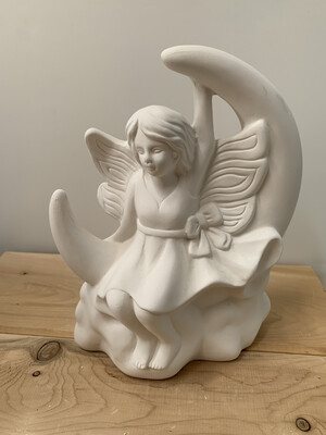 NO FIRE Paint Your Own Pottery Kit -  Ceramic Moon Fairy Figurine Acrylic Painting Kit