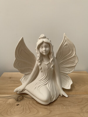NO FIRE Paint Your Own Pottery Kit -  Ceramic Side Sitting Fairy Figurine Acrylic Painting Kit