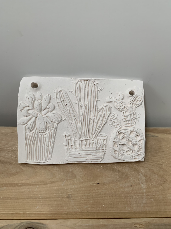 NO FIRE Paint Your Own Pottery Kit -  Ceramic Cactus Succulent Tile Acrylic Painting Kit