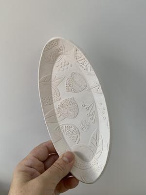 Paint Your Own Pottery - Ceramic   7.75x3.75 Inch Oval Lemon Lime Orange Citrus Plate Painting Kit