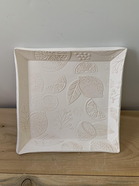 Paint Your Own Pottery - Ceramic   5.75 Inch Square Lemon Lime Orange Citrus Plate Painting Kit