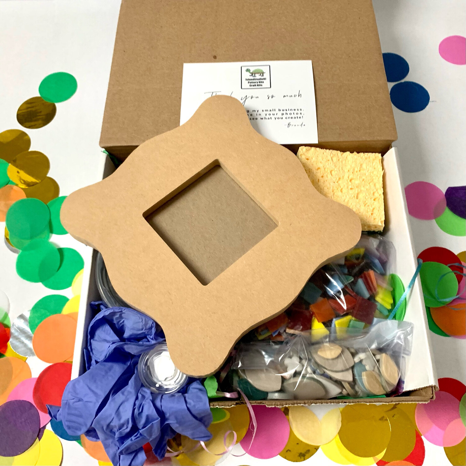"""Make Your Own Mosaic - 8"""" Wiggle Picture Frame for Wall or Desk - DIY Craft Kit"""