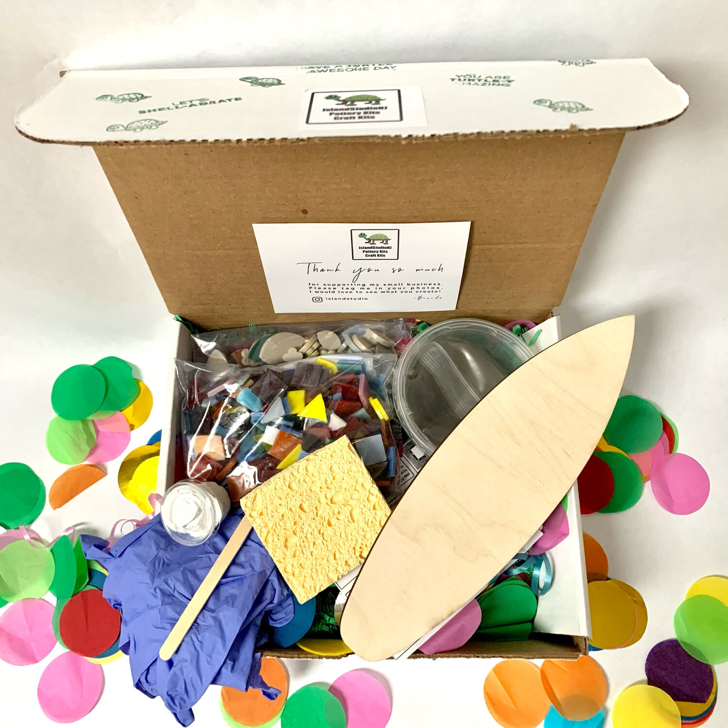 """Make Your Own Mosaic - 12"""" Long Surfboard Wall Plaque - DIY Craft Kit"""