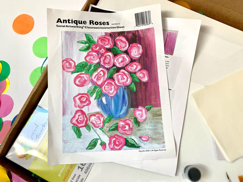 Antique Roses ADULT Acrylic Paint On Canvas DIY Art Kit