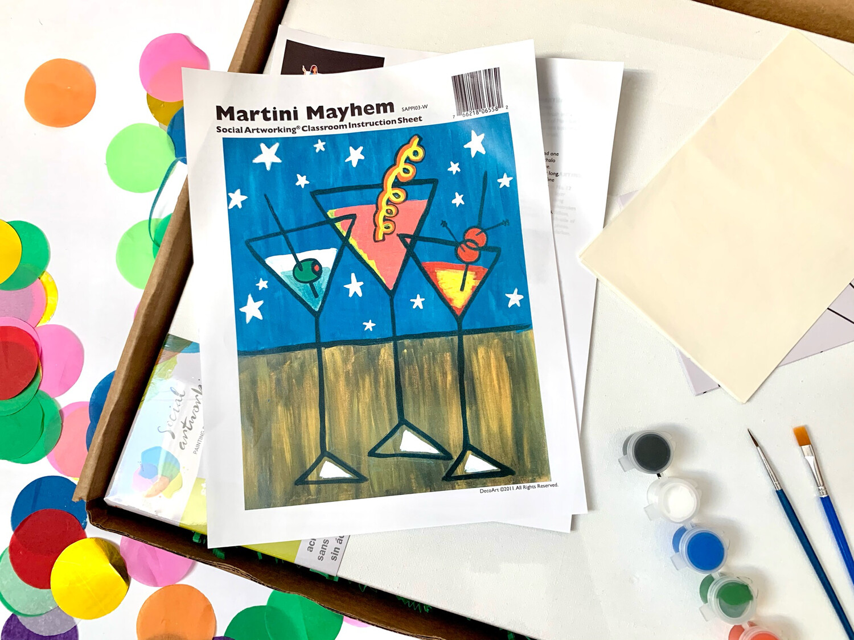 Martini ADULT Acrylic Paint On Canvas DIY Art Kit
