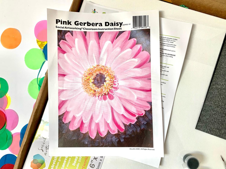 Pink Gerbera Daisy ADULT Acrylic Paint On Canvas DIY Art Kit