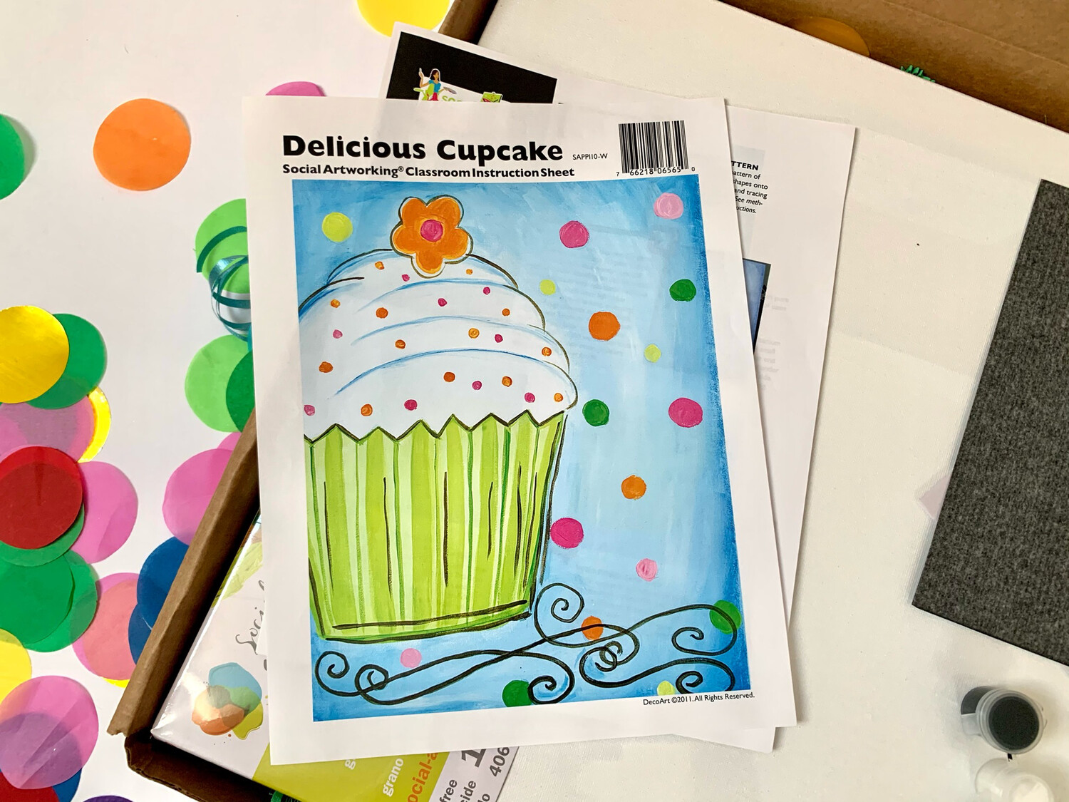 Delicious Cupcake ADULT Acrylic Paint On Canvas DIY Art Kit