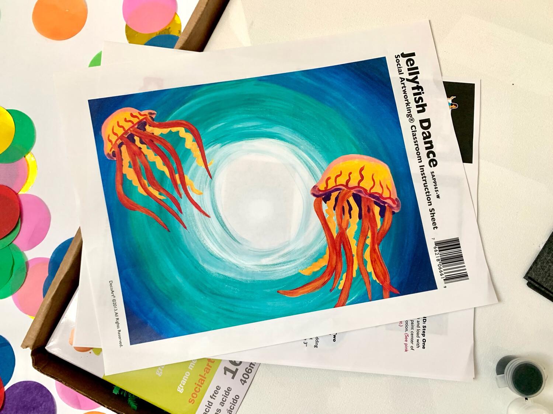 Jellyfish Dance ADULT Acrylic Paint On Canvas DIY Art Kit