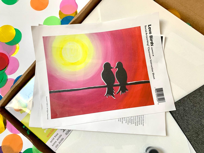 Love Birds ADULT Acrylic Paint On Canvas DIY Art Kit
