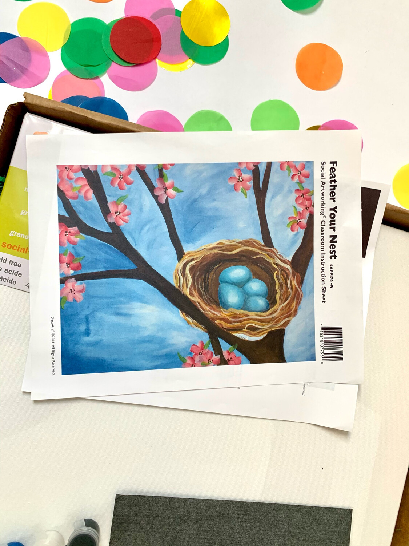 Feather Your Nest ADULT Acrylic Paint On Canvas DIY Art Kit