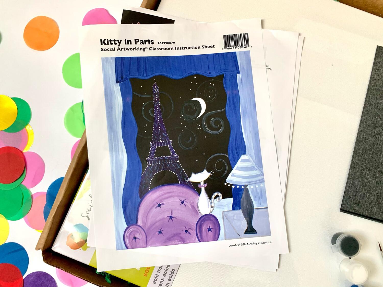Kitty in Paris ADULT Acrylic Paint On Canvas DIY Art Kit
