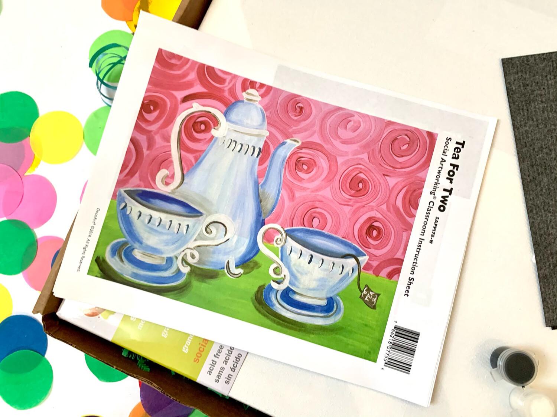 Tea For Two ADULT Acrylic Paint On Canvas DIY Art Kit