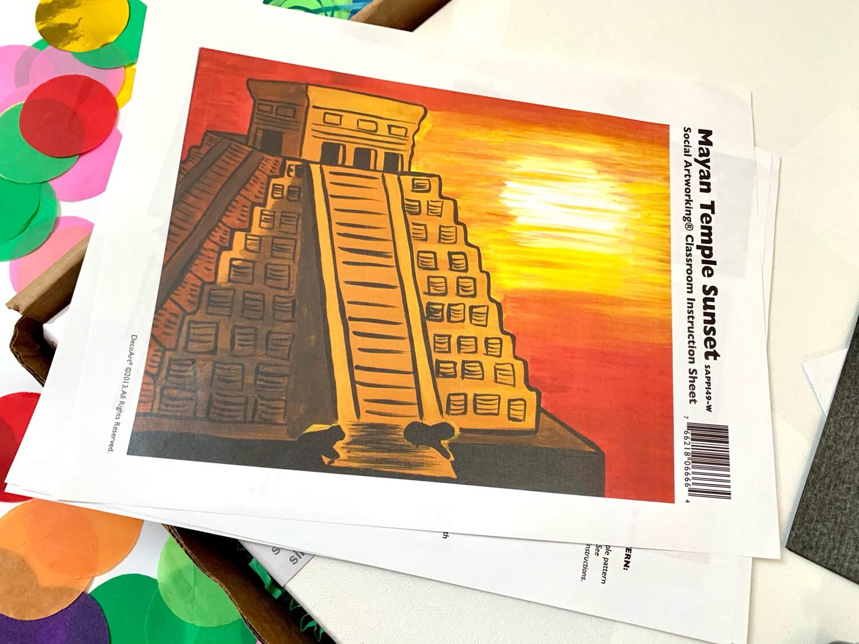 Mayan Temple Sunset ADULT Acrylic Paint On Canvas DIY Art Kit