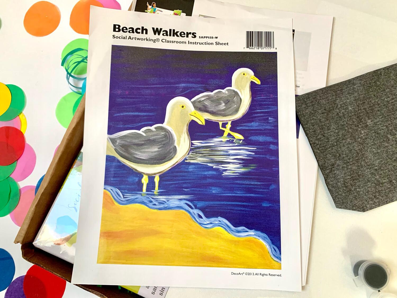 Seagull Beach Walkers ADULT Acrylic Paint On Canvas DIY Art Kit