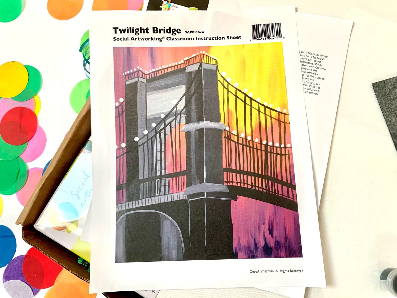 Twilight Bridge ADULT Acrylic Paint On Canvas DIY Art Kit