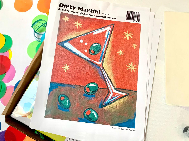 Dirty Martini ADULT Acrylic Paint On Canvas DIY Art Kit