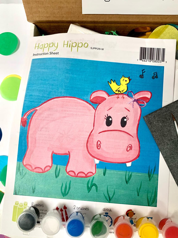 Happy Hippo KIDS Acrylic Paint On Canvas DIY Art Kit