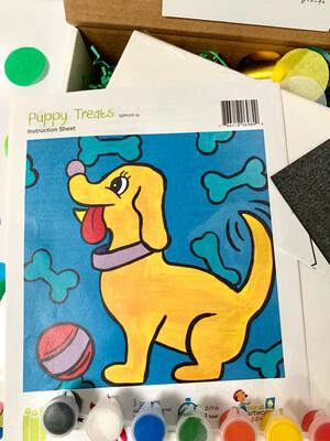 Puppy Dog KIDS Acrylic Paint On Canvas DIY Art Kit
