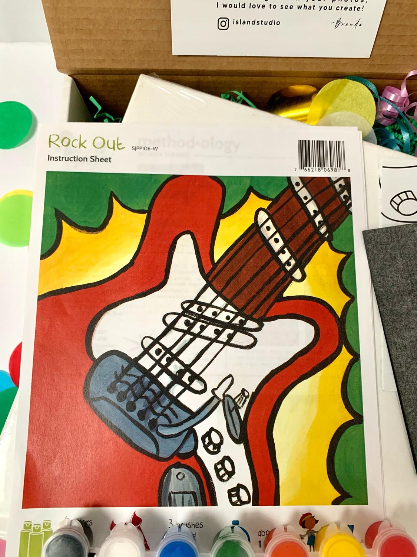 Guitar KIDS Acrylic Paint On Canvas DIY Art Kit