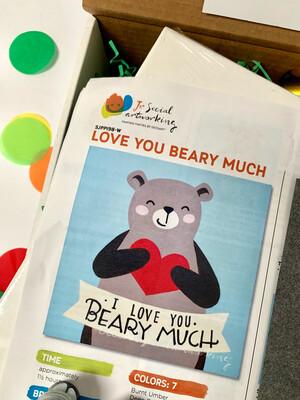 Teddy Bear Love KIDS Acrylic Paint On Canvas DIY Art Kit