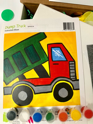 Dump Truck KIDS Acrylic Paint On Canvas DIY Art Kit